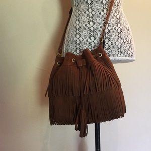 Express Brown Fringe Bucket Bag NWT